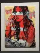 David Bromley: Red Nude - butterflies