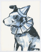 David Bromley - Clown Dog 1 - Framed in white $650 - Unframed $550