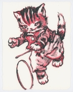David Bromley - Hula Cat - Framed in white $650 - Unframed $550
