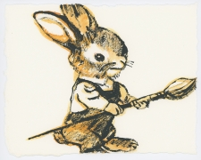 David Bromley - Painting Rabbit - Framed in white $650 - Unframed $550
