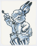David Bromley - Rabbit Smoke - Framed in white $650 - Unframed $550