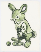 David Bromley - Wabbit - Framed in white $650 - Unframed $550